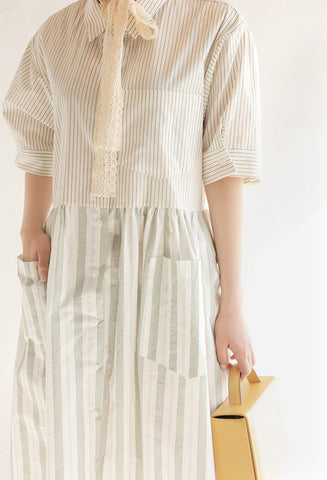 STYLENANDA mixed stripe pattern button-down dress