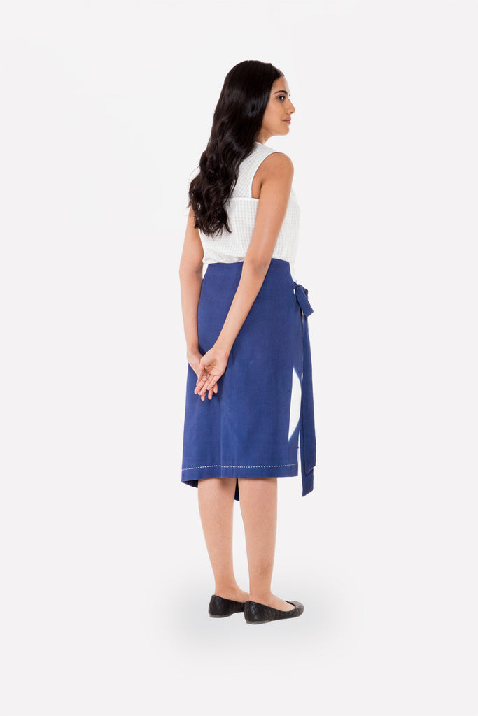 Resist-dyed Wrap Skirt - Raag