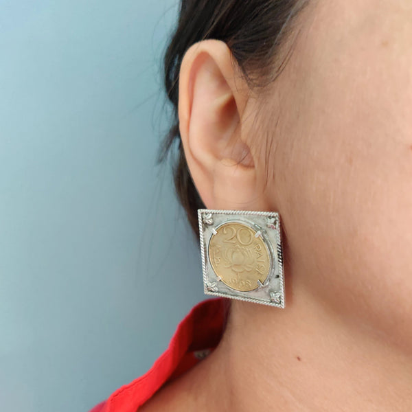 Bold sterling silver earrings with real vintage 20 paisa coin