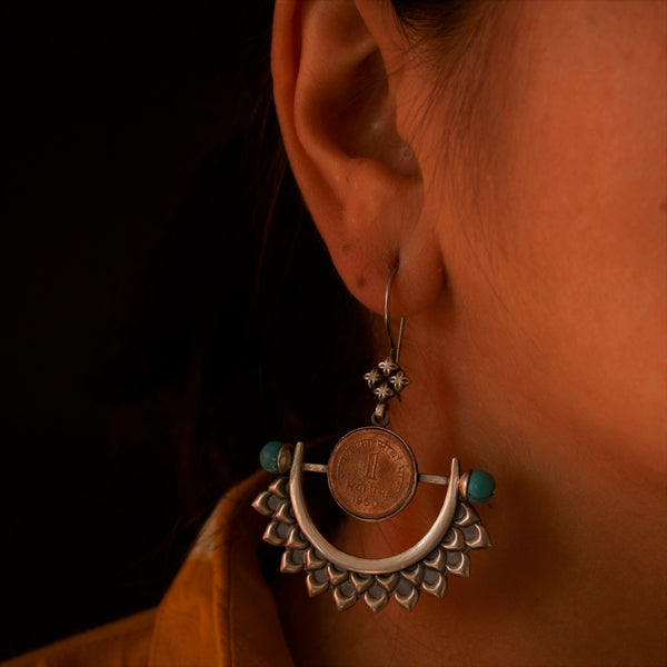 Bold Silver Earrings with Turquoise Stones