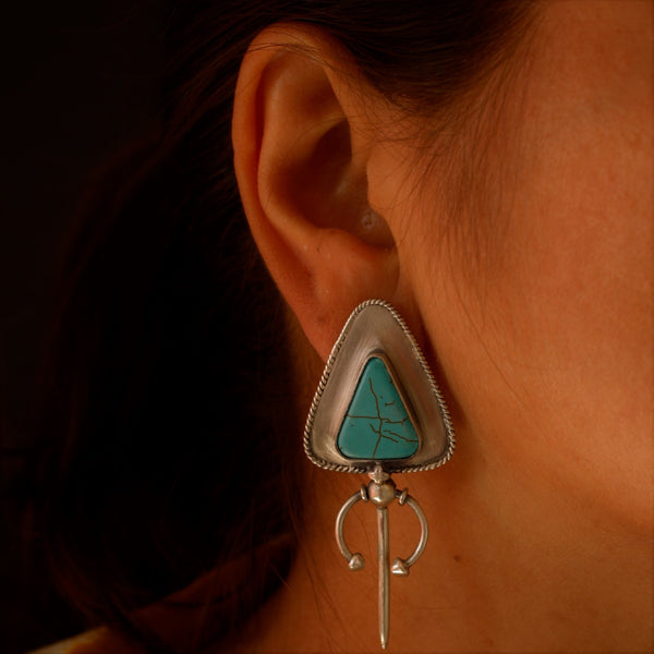 Tribal Earrings with Turquoise - Quirksmith