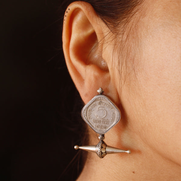 Boho warrior sterling silver earrings with real coin