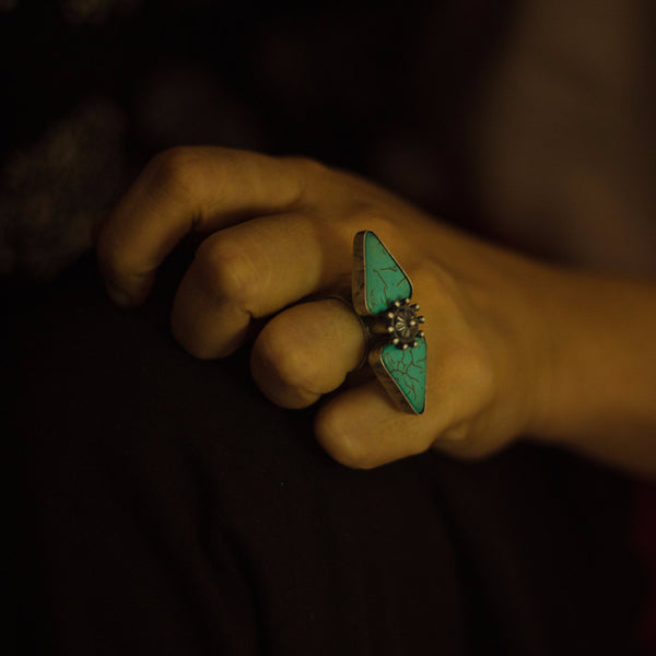 Turquoise and Silver Ring - Quirksmith