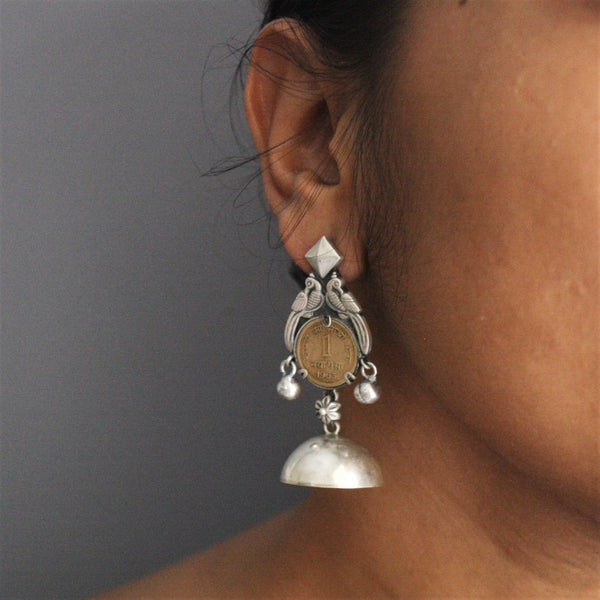 Best selling statement jhumka earrings with vintage coin