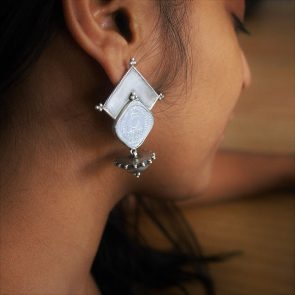 Handcrafted sterling silver earrings with real 5 paise coin