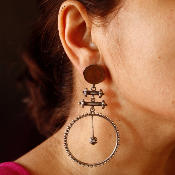 Long statement silver earrings with real coin