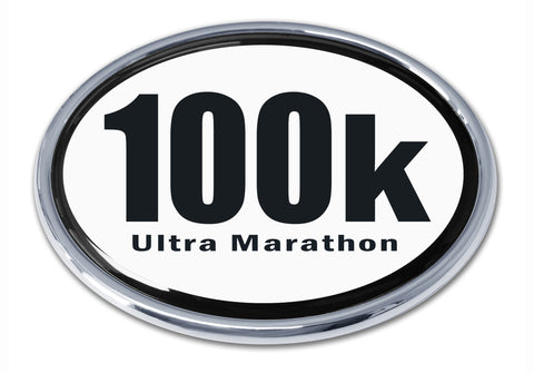100k Ultra Marathon Chrome Metal Auto Emblem