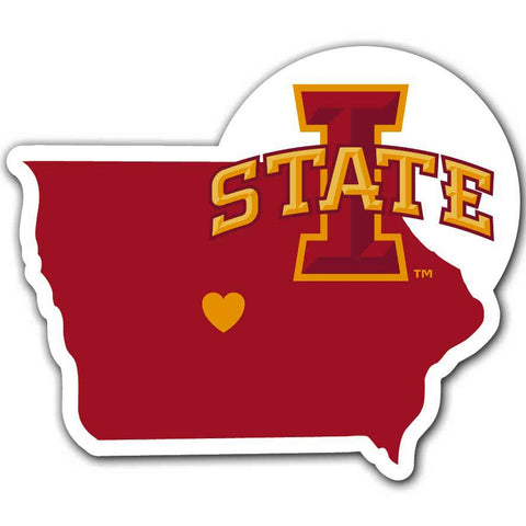 Iowa State Cyclones Home State Vinyl Auto Decal NCAA (Iowa Shape)