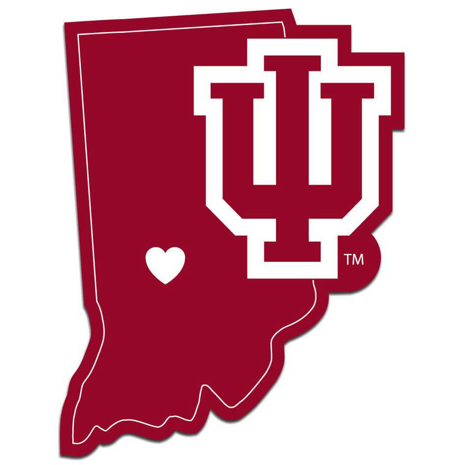 Indiana Hoosiers Home State Vinyl Auto Decal NCAA (Indiana Shape)