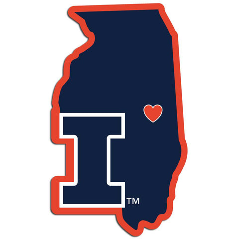 Illinois Fighting Illini Home State Vinyl Auto Decal NCAA (Illinois Shape)
