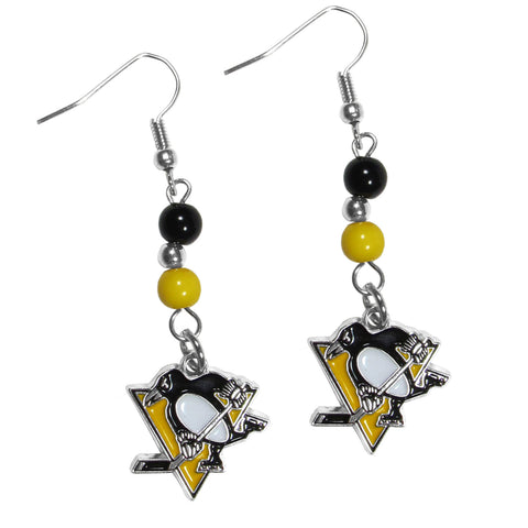 Pittsburgh Penguins Dangle Earrings (Fan Bead) NHL