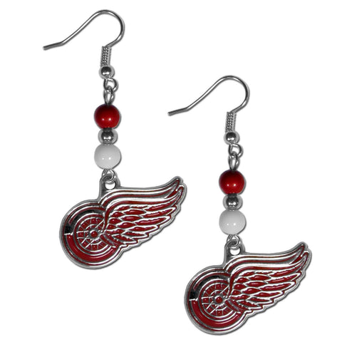 Detroit Red Wings Dangle Earrings (Fan Bead) NHL Licensed Jewelry