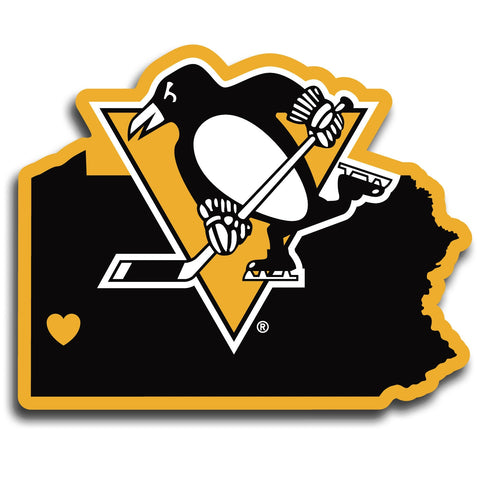 Pittsburgh Penguins Home State Vinyl Auto Decal (NHL) Pennsylvania Shape
