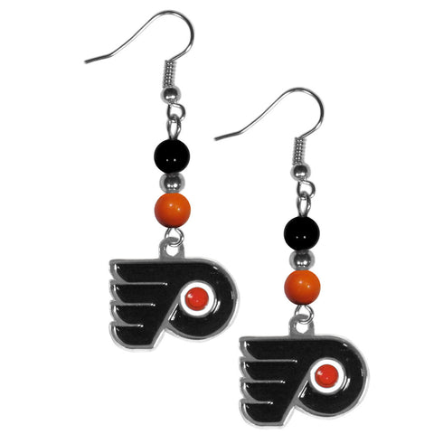 Philadelphia Flyers Dangle Earrings (Fan Bead) NHL Licensed Hockey Jewelry