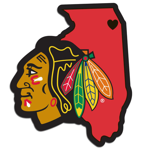 Chicago Blackhawks Home State Vinyl Auto Decal (NHL) Illinois Shape