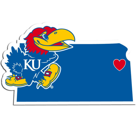 Kansas Jayhawks Home State Vinyl Auto Decal NCAA (Kansas Shape)