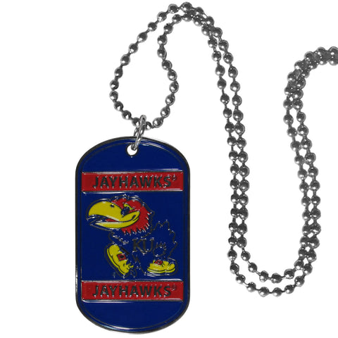 Kansas Jayhawks Metal Tag Necklace NCAA Licensed Jewelry
