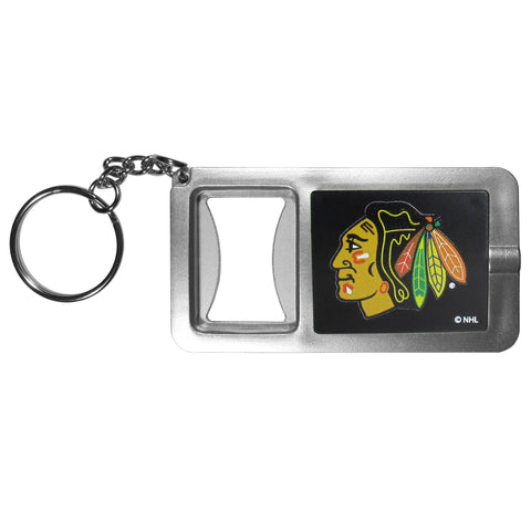 Chicago Blackhawks Flashlight Key Chain with Bottle Opener NHL