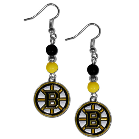 Boston Bruins Dangle Earrings (Fan Bead) NHL Licensed Jewelry