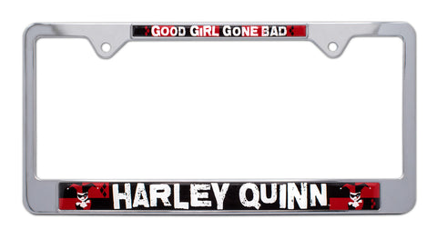 Harley Quinn Shiny Chrome Finish Metal License Tag Frame DC Comics Licensed