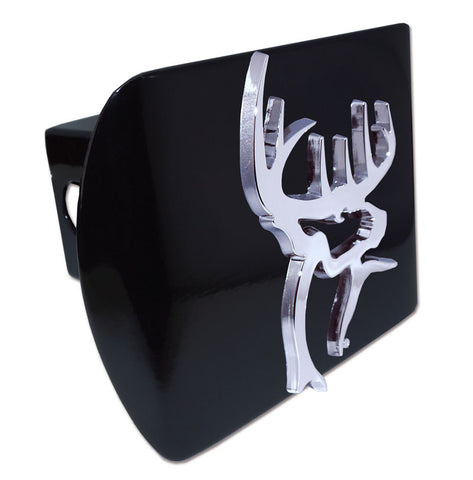 Buck Commander Chrome Metal Black Hitch Cover (3-D Buck) Licensed