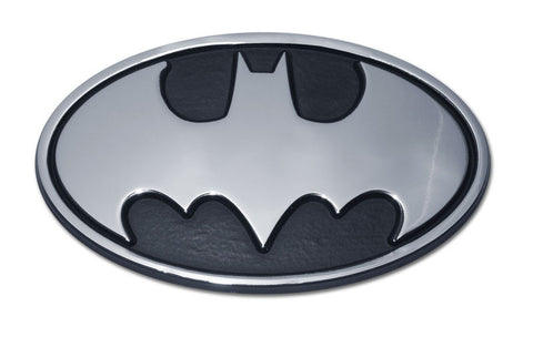 Batman Chrome Metal Auto Emblem (Black and Chrome Oval) DC Comics