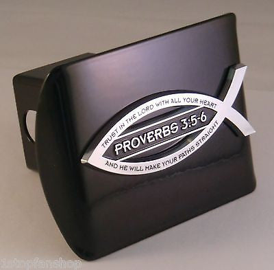 Christian Fish Chrome Metal Black Hitch Cover (Proverbs 3:5-6 Scripture)