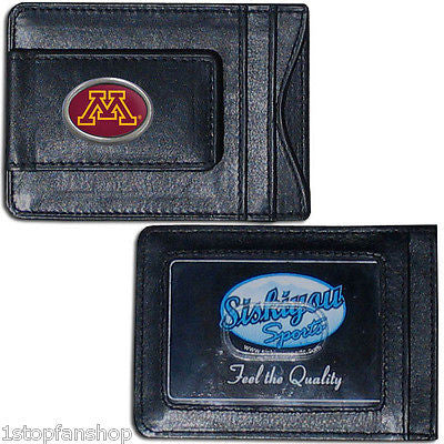 Minnesota Golden Gophers Fine Leather Money Clip (NCAA) Card & Cash Holder