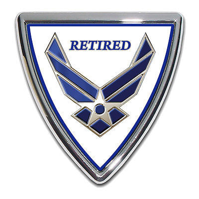 U.S. Air Force Chrome Metal Auto Emblem (Retired Shield) Licensed