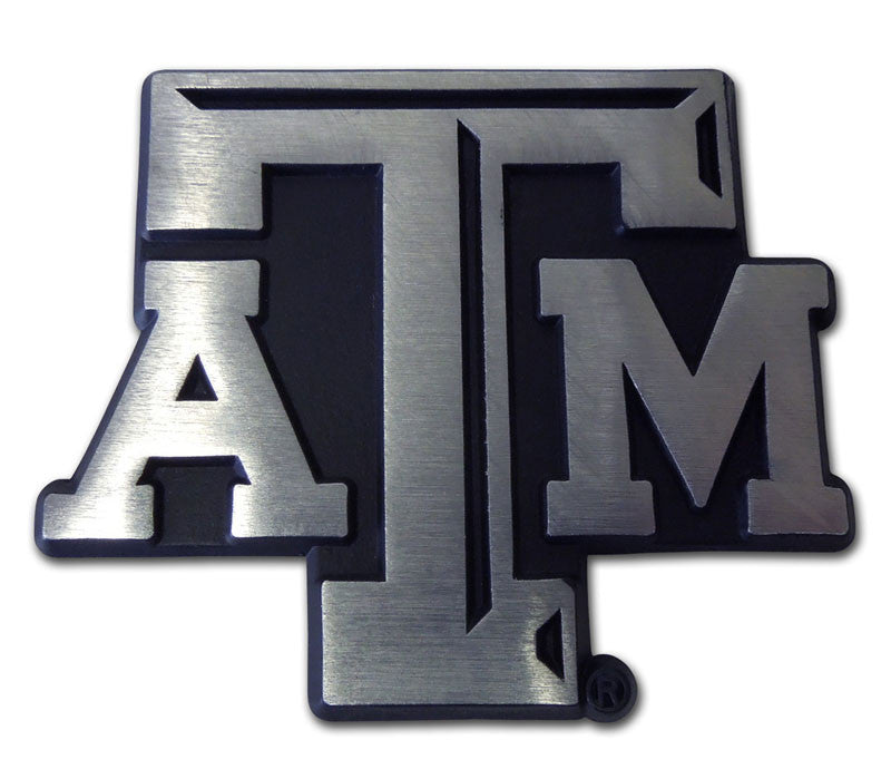 "Texas A&M Aggies Chrome Metal Auto Emblem (Matte ""ATM"") NCAA"