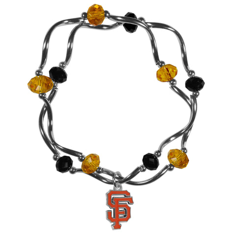 San Francisco Giants Crystal Beads Bracelet Licensed MLB Baseball Jewelry