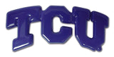 "TCU Horned Frogs Chrome Metal Auto Emblem (Purple ""TCU"") NCAA"