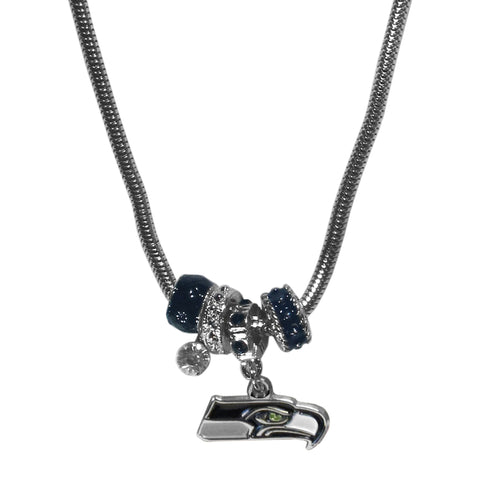 Seattle Seahawks Snake Chain Necklace with Euro Beads NFL Jewelry