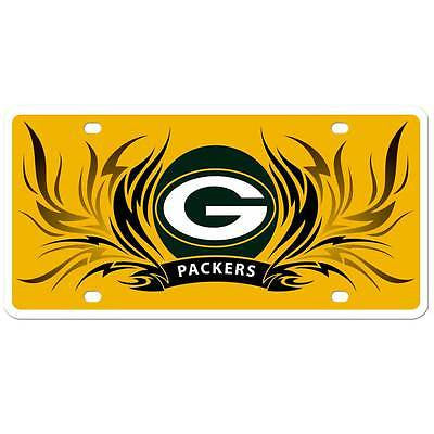 Green Bay Packers Styrene License Plate with Flames NFL