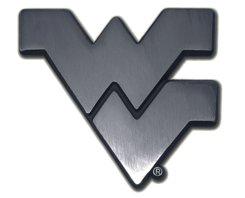 "West Virginia Mountaineers Chrome Metal Auto Emblem (Matte ""WV"") NCAA"