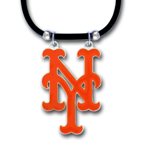 New York Mets Rubber Cord Necklace w/ Logo Charm Licensed MLB Jewelry