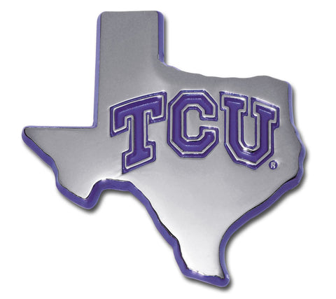 TCU Horned Frogs Chrome Metal Auto Emblem (Texas Shape w/ Purple) NCAA
