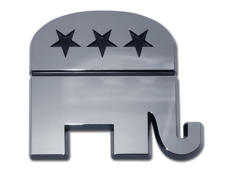 Republican Elephant Chrome Auto Emblem