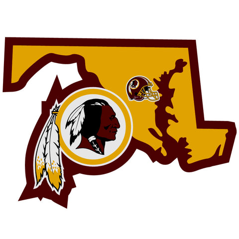 Washington Redskins Home State Vinyl Auto Decal (NFL) Maryland Shape w/Helmet
