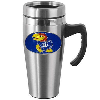 Kansas Jayhawks 14 oz Stainless Steel Travel Mug with Handle (NCAA)