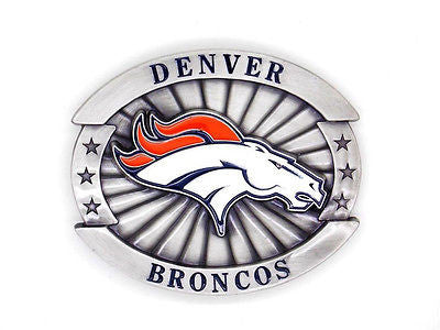 "Denver Broncos Over-sized 4"" Pewter Metal Belt Buckle (NFL)"
