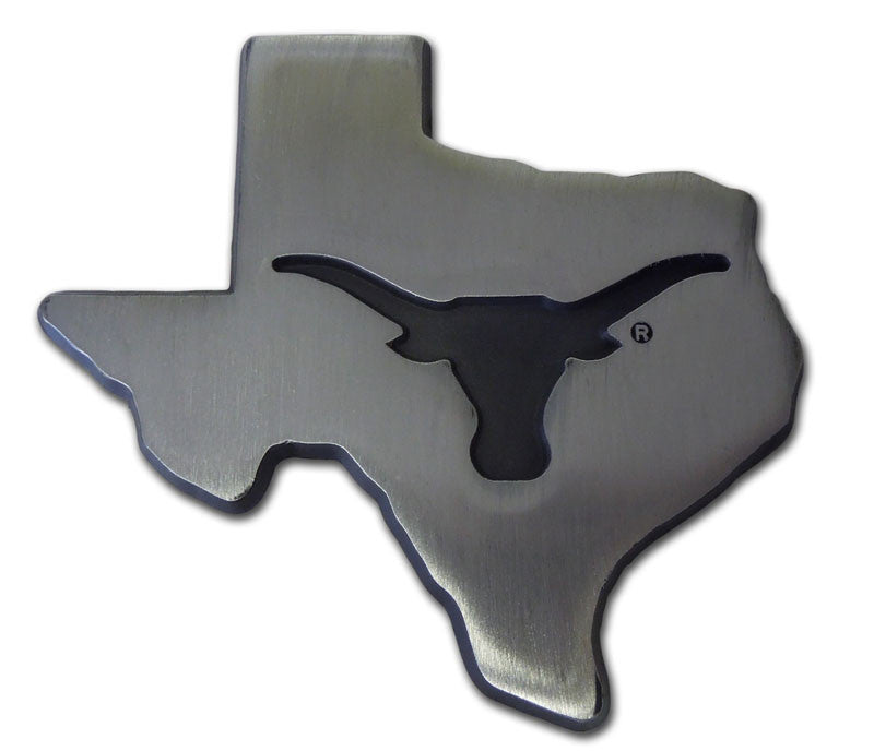 Texas Longhorns Chrome Metal Auto Emblem (Matte Texas Shape) NCAA