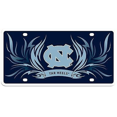 North Carolina Tar Heels Styrene License Plate with Flames NCAA