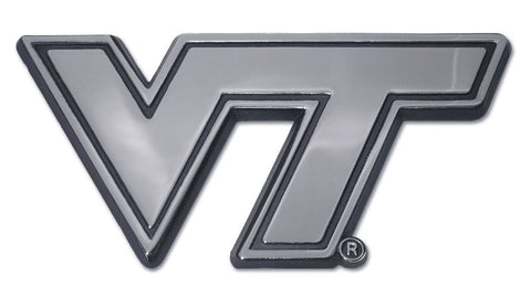 "Virginia Tech Hokies Chrome Metal Auto Emblem (""VT"") NCAA"