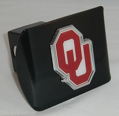"Oklahoma Sooners Chrome Metal Black Hitch Cover (""OU"" w/ Color) NCAA"