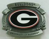 "Georgia Bulldogs Over-sized 4"" Pewter Metal Belt Buckle (NCAA)"