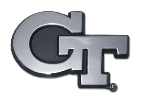 "Georgia Tech Yellowjackets Chrome Metal Auto Emblem (""GT"") NCAA"