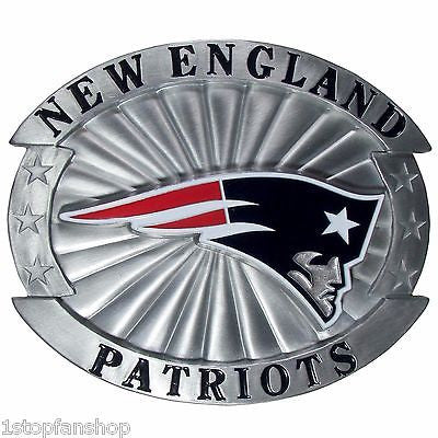 "New England Patriots Over-sized 4"" Pewter Metal Belt Buckle (NFL)"