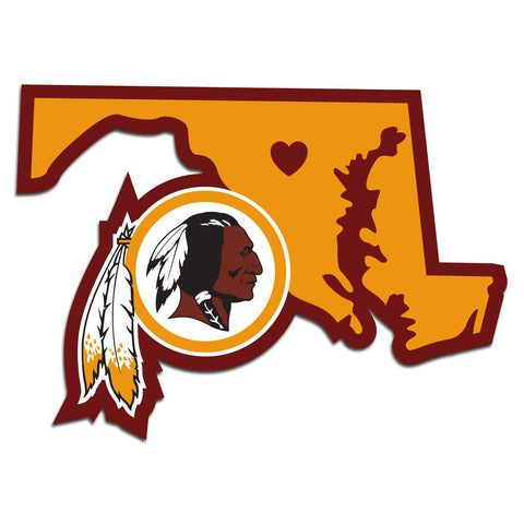 Washington Redskins Home State Vinyl Auto Decal (NFL) Maryland Shape