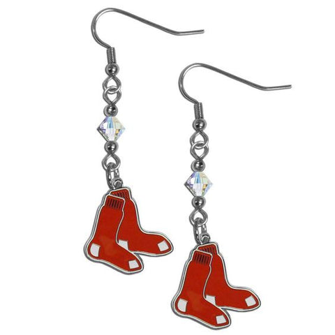 Boston Red Sox Dangle Earrings (Crystal Bead) Licensed MLB Baseball Jewelry